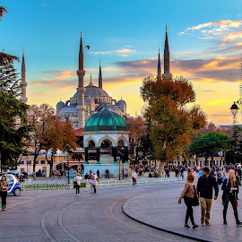 German fountain and the Blue Mosque at sunset by Konstantin  Sokolov - Novices Only Street & Candid ( historical monuments, minaret, mosque, dome, old racecourse, architecture, travel, istanbul, cityscape, hiking, german fountain, november evening, blue mosque, sunset, turkey, sultanahmet, evening, golden hour )