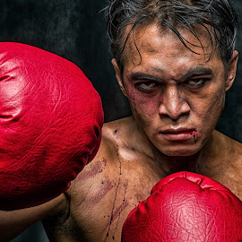 Martin The Boxer by Faldhy Boer - People Portraits of Men ( red, boxer, boxing, blood )