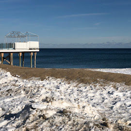 Dock overlooking Ocean in Winter by Kristine Nicholas - Novices Only Landscapes ( clouds, water, sand, waterscape, sea, snowy, ocean, beach, landscape, pilings, atlantic, dusk, dock, salisbury, winter, cold, snow, pier )