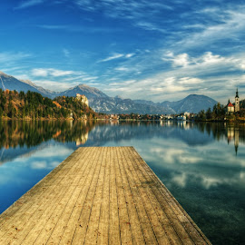Jump! by Mara R. Sirako - Landscapes Travel ( walking, vacation, slovenia, bled, pier, castle, lake, island,  )