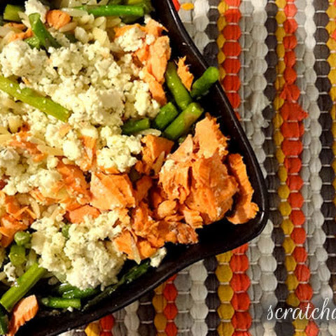 Salmon, Asparagus, and Orzo Salad Recipe with Crumbled Lemon-Dill Feta