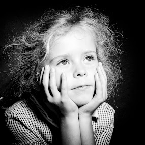 Pondering by Alan Wilson - Novices Only Portraits & People ( woman, b&w, portrait, person, , black and white, child )