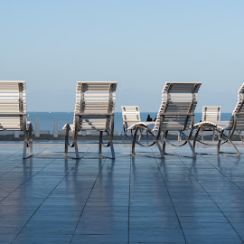 waiting fot the summer by Klariesje van Daele - Artistic Objects Furniture ( seafront, waterscape, chairs, middelkerke, dijk,  )
