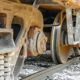 Rail and Wheel by Richard Michael Lingo - Transportation Trains ( rail, train, artistic object, transportation, industry )