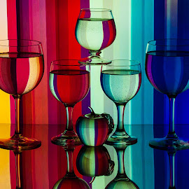 Color Spectrum by Lisa Hendrix - Artistic Objects Glass ( reflection, spectrum, pattern, color, apple, artistic, wine glasses, stripes,  )