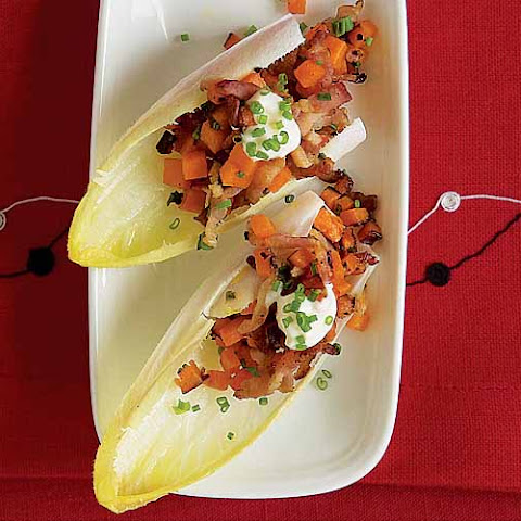 Endive Spears with Sweet Potato, Bacon & Chives