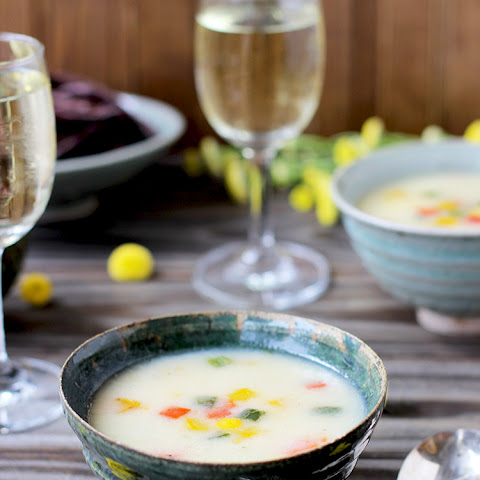 Potato Cheddar Soup with Roasted Peppers