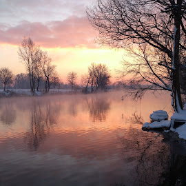 Cold sunrise by Oliver Švob - Instagram & Mobile Android ( water, clouds, korana, reflection, europe, croatia, boat, hrvatska, sun, sony, winter, sky, karlovac, tree, snow, sunrise, down, river )
