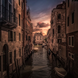 Venice by Ole Steffensen - City,  Street & Park  Neighborhoods ( venezia, houses, italia, sunset, venice, boat, canal, italy )