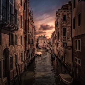 Venice by Ole Steffensen - City,  Street & Park  Neighborhoods ( venezia, houses, italia, sunset, venice, boat, canal, italy,  )