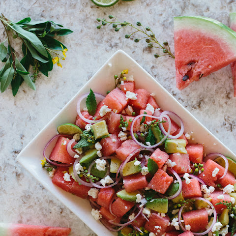Watermelon, Avocado, and Mint Salad with Feta Cheese