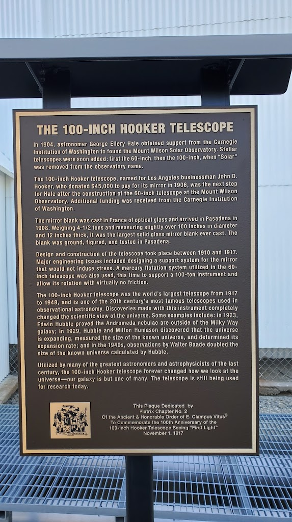 THE 100-INCH HOOKER TELESCOPE In 1904, astronomer George Ellery Hale obtained support from the Carnegie Institution of Washington to found the Mount Wilson Solar Observatory. Stellar telescopes were ...
