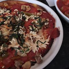 Gf pizza with Daiya cheese and meatballs.