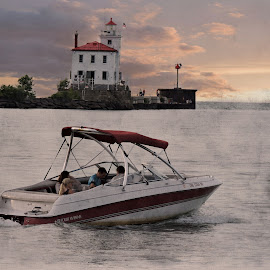 Sail in the Harbor by Melissa Davis - Digital Art Things ( fairport harbor lighthouse, lighthouse, missysphotography, lake erie, boat, fairport harbor ohio )