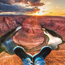 Relaxing shoe on horseshoe bend by Sushmita Sadhukhan - Landscapes Caves & Formations ( navajo, page, sunset, arizona, pages, canyon, rivers, horseshoe bend )
