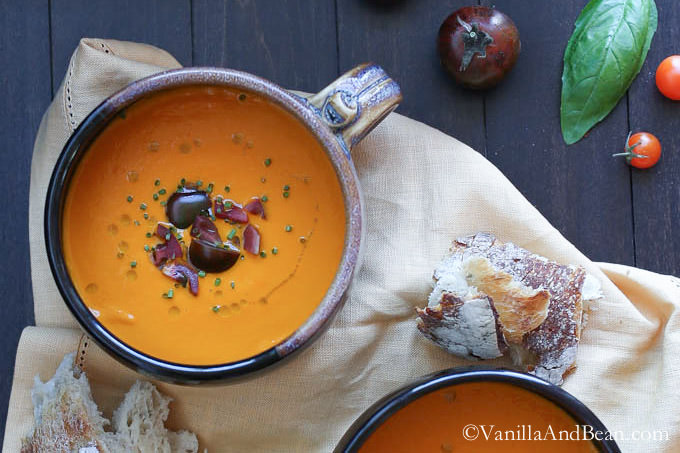 Roasted Red Bell Pepper and Heirloom Tomato Soup Recipe | Yummly