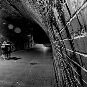 Tunnel Walk by Georgios Kalogeropoulos - City,  Street & Park  Street Scenes ( black & white, tunnel )