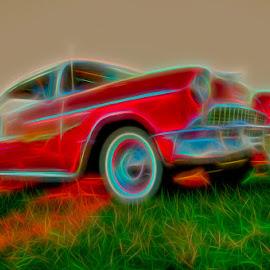 Red Glow by Chris Cavallo - Digital Art Things ( car, red, maine, vintage, digital manipulation, digital art, retro, car show,  )