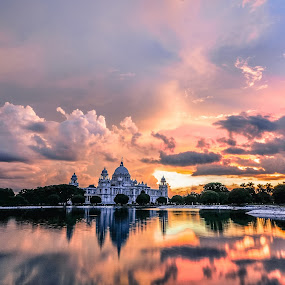 The Queen and the Clouds by Somsubhra Chatterjee - Landscapes Sunsets & Sunrises ( clouds, reflection, calcutta, sky, memorial, nature, autumn, waterscape, sunset, kolkata, victoria, wide )