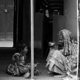Relation  by Debjyoti Sarkar - City,  Street & Park  Street Scenes ( black and white, street, wildlife, bride, people, photography, city )