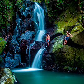 Playing at Pria Laot Waterfall by ArRy Fridiansyah - Landscapes Waterscapes ( sabang, indonesian, aceh, waterfalls, waterscape, slow, longexposure, slow shutter )