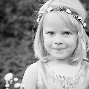 Cheeky by Shayne Janks Nicolas - Babies & Children Child Portraits ( little girl, cheeky, dress, blue eyes, flowers, eyes )