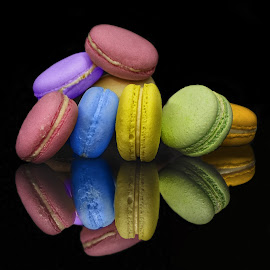 Colourful Macarons by Sam Song - Food & Drink Candy & Dessert ( reflection, sweet, colourful, colorful, creamy )