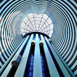 Learning to Fly by Justin Lee - Buildings & Architecture Office Buildings & Hotels ( curving, building, lobby, futuristic, no person, indoors, skylight, architecture, geometric, singapore, geometry, holiday inn, modern, elevator, symmetrical, atrium, tower, justin adam lee, contemporary, inside, perspective, symmetry, high, hotel, curved, tall )