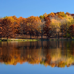 Fall Pano by Robert Coffey - Landscapes Waterscapes ( reflection, fall, trees, lake, water,  )