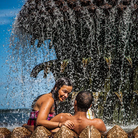 cool off by George Petropoulos - People Street & Candids ( cool, water, hotday, fountain, couple )