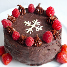 Ice Cream Cake With Chocolate Cake And Strawberry Ice Cream, Chocolate Ganache And Fresh Red Berries