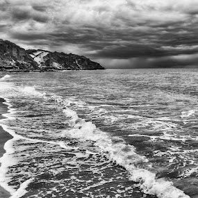 Moody weather by Clarissa Human - Landscapes Waterscapes ( water, black and white, weather, cloudscape, ocean, storms, beach,  )