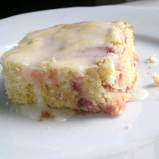 Strawberry Lemon Cake Bars with Lemon Glaze