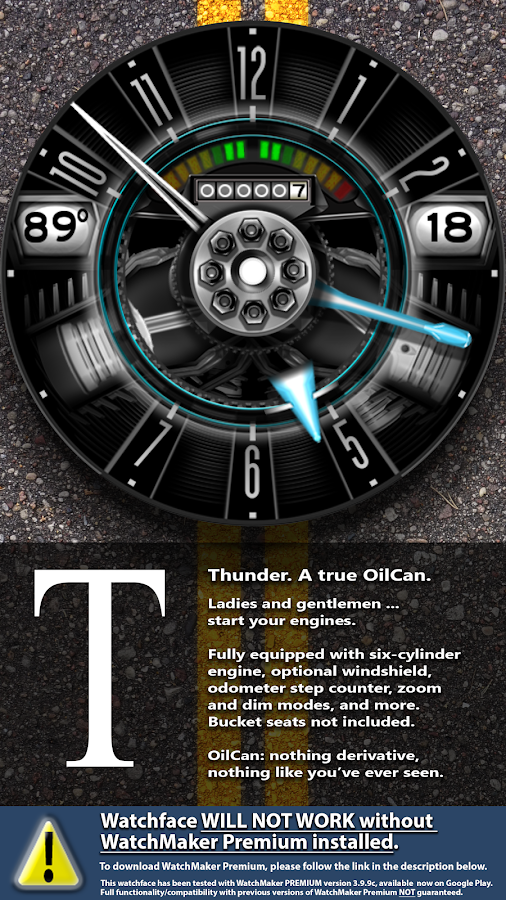OilCanX2-Thunder watchface Screenshot 0