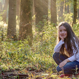 Autumn in the Forest by Jiri Cetkovsky - Babies & Children Child Portraits ( girl, autumn, potrrait, forest, straznice )