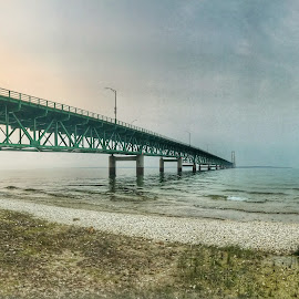 Mackinac Bridge by Patti Pappas - Buildings & Architecture Bridges & Suspended Structures ( water, michigan, sky, beach, bridge )