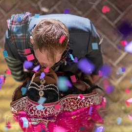 Freefalling by Chris Anderson - Wedding Bride & Groom ( love, kiss, wedding sari, wedding, couple, bokeh )