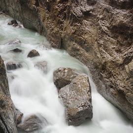 Partnachklamm by Yuriy Podoba - Nature Up Close Water ( water, stream, canyon, long exposure, stones )