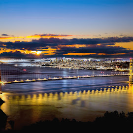 Dawn at the Gate by Curt Lerner - Buildings & Architecture Bridges & Suspended Structures ( sausalito, google, marin, oakland, star wars, giats, alcatraz, golden gate, sunrise, a's, san francisco )