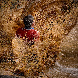 Splash'n Splatter by Marco Bertamé - Sports & Fitness Other Sports ( muddy, water, red, sliding, splatter, splash, rebrown, soup, strongmanrun )