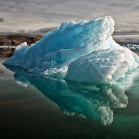 Floating Iceberg by Tim Vollmer - Landscapes Travel ( iceberg, water, clouds, mountains, reflection, sky, floating iceberg, ice, floating, greenland, east greenland )