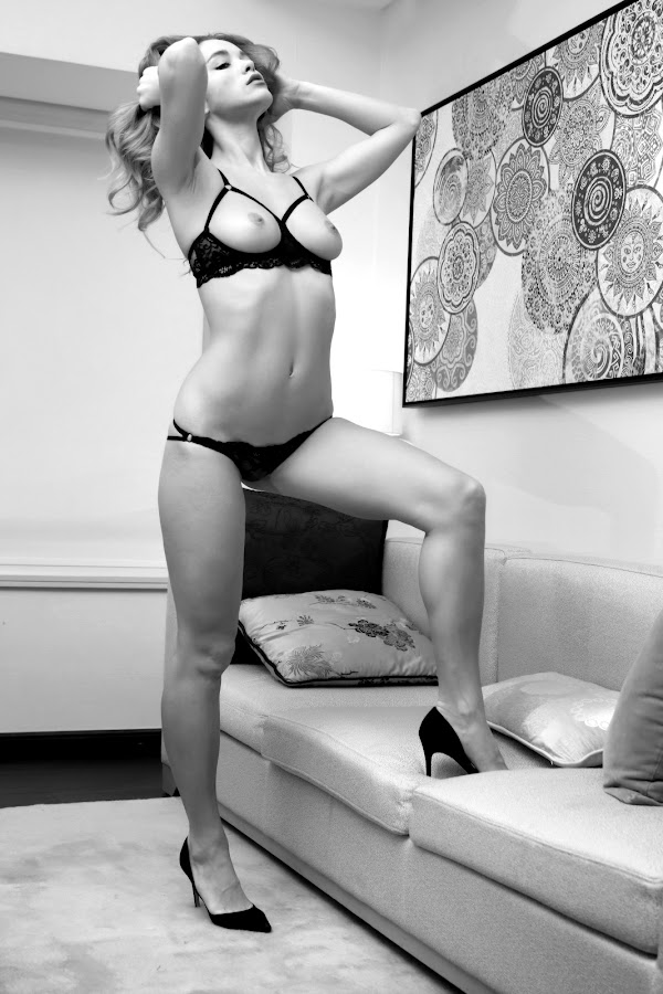 Style by ObjeKtiva Artphoto - Nudes & Boudoir Artistic Nude ( nude, topless, monochrome, black and white, boudoir, highheels, beauty, vikra, seminude, glamour, sofa, open, sexy, lingerie, style, breasts, feminine, hair, black )