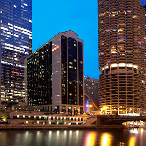 Blue Hour at Chicago by Cristobal Garciaferro Rubio - Buildings & Architecture Office Buildings & Hotels ( le, blue hour, buildings, night, long exposure, chicago, river, hotels )