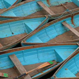 blue boats by Debb Rooken-Smith - Transportation Boats ( uk, england, wooden, wood, punts, blue, boats, oxford, oxfordshire, river,  )