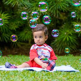 Little Boy with Bubbles by Thivanka Ilanperuma - Babies & Children Babies ( bubble, birthday, babies, ground, baby boy, portrait,  )