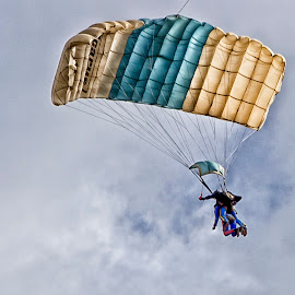 In Clouded Skies by Dez Green - Sports & Fitness Other Sports ( tandem, parachuting, skies, parachute, soaring )