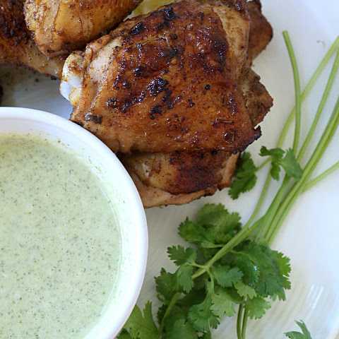 Smokey Chicken with Cilantro Dipping Sauce