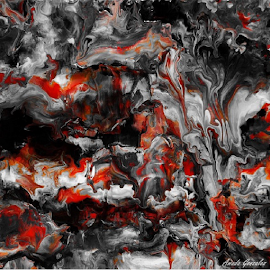 Firestorm by Amada Gonzalez - Painting All Painting ( storm, painting, fluid art, fire, abstract )