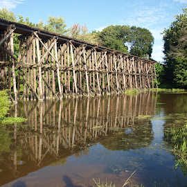 Old railroad bridge by Jennifer Carnahan - Buildings & Architecture Bridges & Suspended Structures ( stream, old, railroad, tracks, bridge )