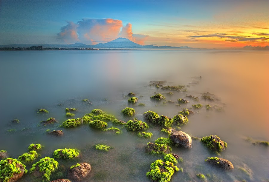 clear morning by Herry Suwondo - Landscapes Waterscapes ( dawn, sanur, sunrise, morning, rocks )